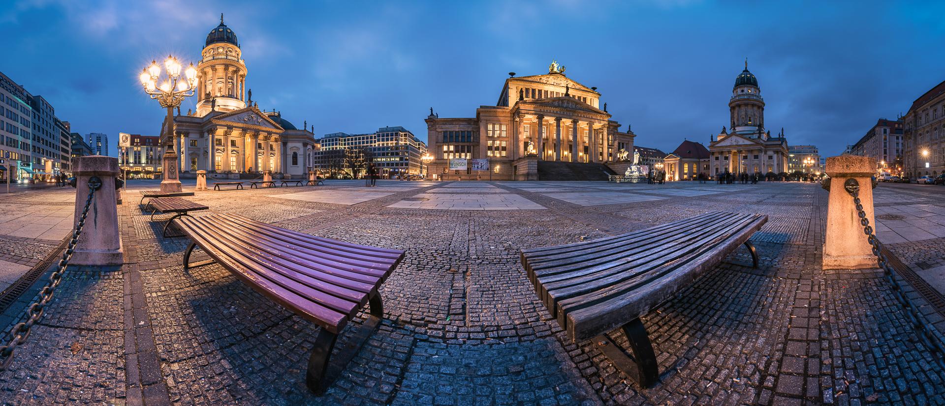 Berlin, Gendarmenmarkt, Panorama, Blue Hour, 2016