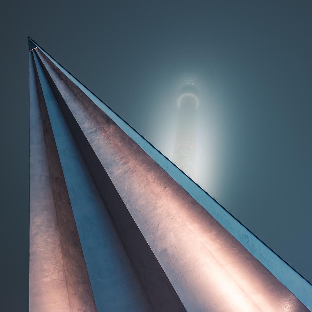 Berlin, TV Tower, Fog, Nebel, Spotlight, Licht, Architektur, Architecture, Nighthsot, Nachtaufnahme,