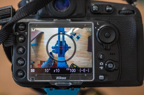 3.3 Überprüft wird die Lage der Bildmitte via Liveview auf dem Display. Wurde der Wert ermittelt, sollte dieser für eine spätere Remontage notiert werden.