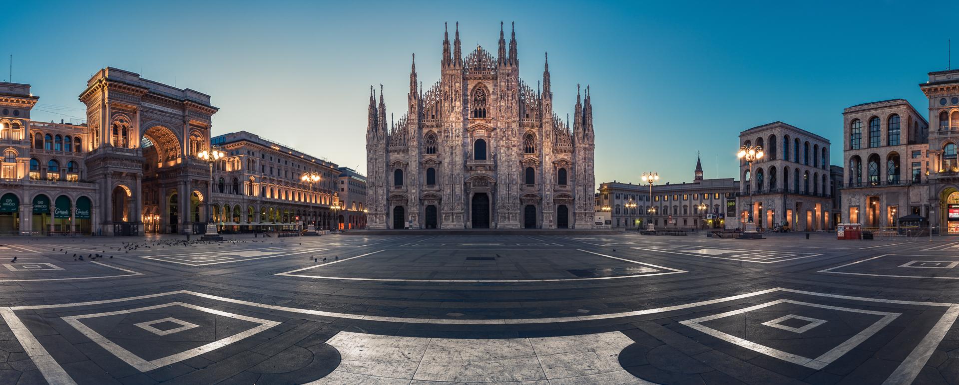 Milan, Basilica, Panorama, Blue Hour, Lombardia, Italy, 2014